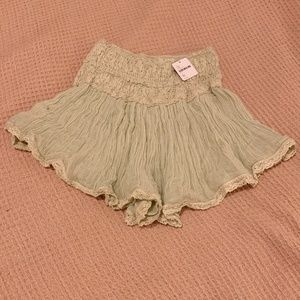 Free People Light Green Lacy Summer Shorts